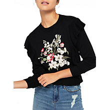 Buy Miss Selfridge Embroidered Frill Jumper, Black Online at johnlewis.com