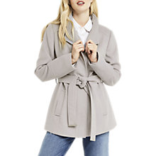 Buy Oasis Short Leah Funnel Coat, Mid Grey Online at johnlewis.com