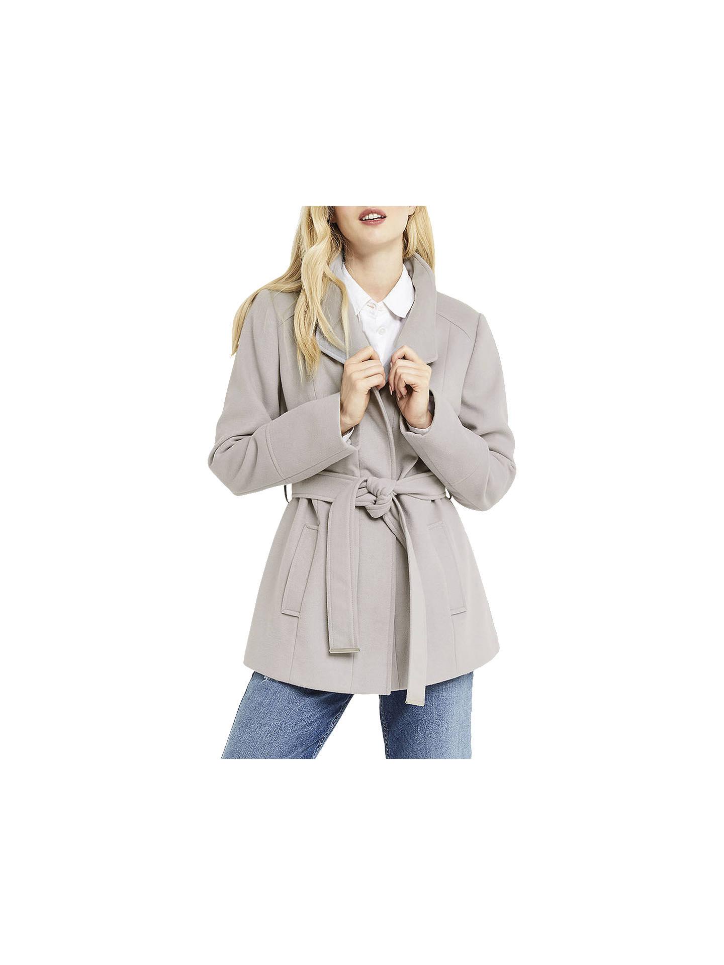 59c4c95434dc Buy Oasis Short Leah Funnel Coat, Mid Grey, XS Online at johnlewis.com ...