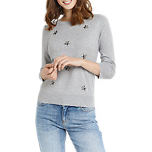 Buy Oasis Bumblebee Crew Knit Jumper, Mid Grey Online at johnlewis.com