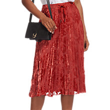 Buy Whistles Harlow Pleated Devore Skirt, Orange Online at johnlewis.com