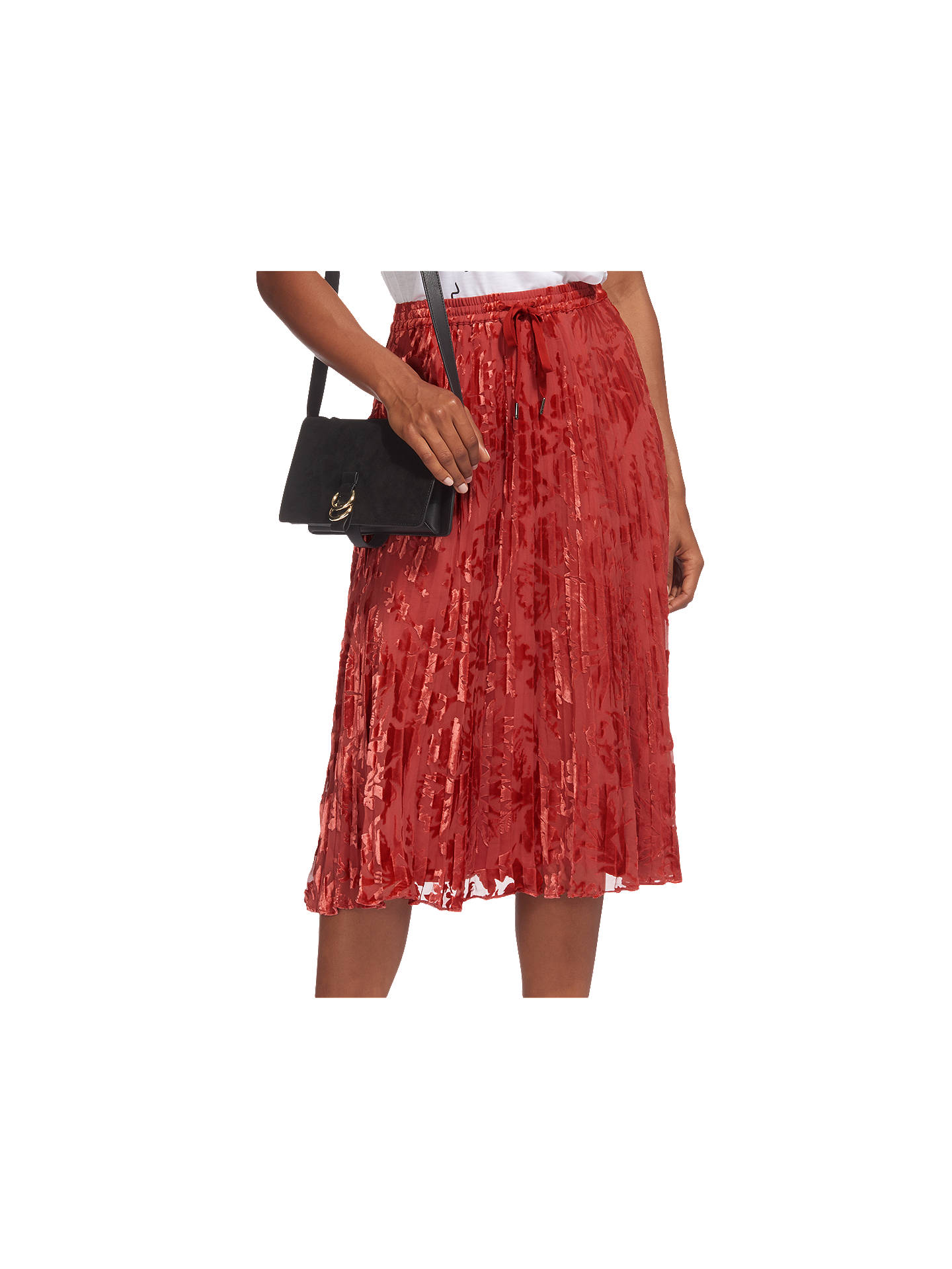a810938425 Buy Whistles Harlow Pleated Devore Skirt, Orange, 6 Online at johnlewis.com  ...