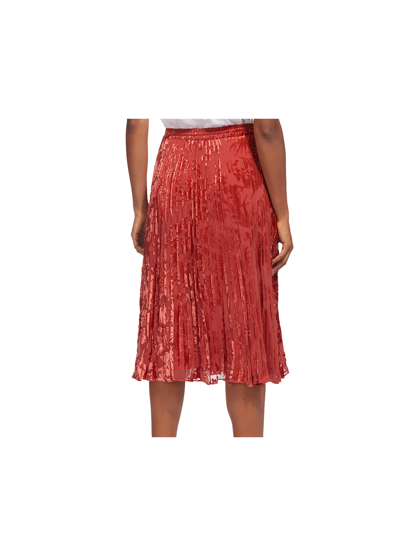 4f078297b6 ... Buy Whistles Harlow Pleated Devore Skirt, Orange, 6 Online at  johnlewis.com ...