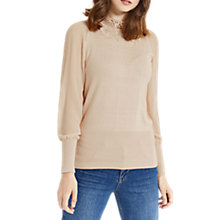 Buy Oasis Lace Sheer Sleeve Knit Top, Light Neutral Online at johnlewis.com