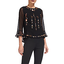 Buy Whistles Flower Embroidered Top, Black/Multi Online at johnlewis.com