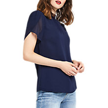 Buy Oasis High Neck Angel Sleeve Top, Navy Online at johnlewis.com