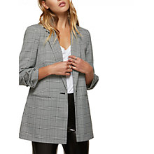Buy Miss Selfridge Ruched Sleeve Check Blazer, Black Online at johnlewis.com