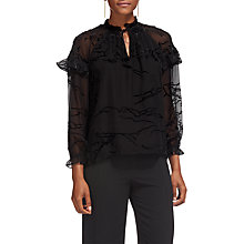 Buy Whistles Yvette Velvet Devore Blouse, Black Online at johnlewis.com