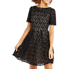 Buy Oasis Lace Trim Sleeve Skater Dress, Black Online at johnlewis.com