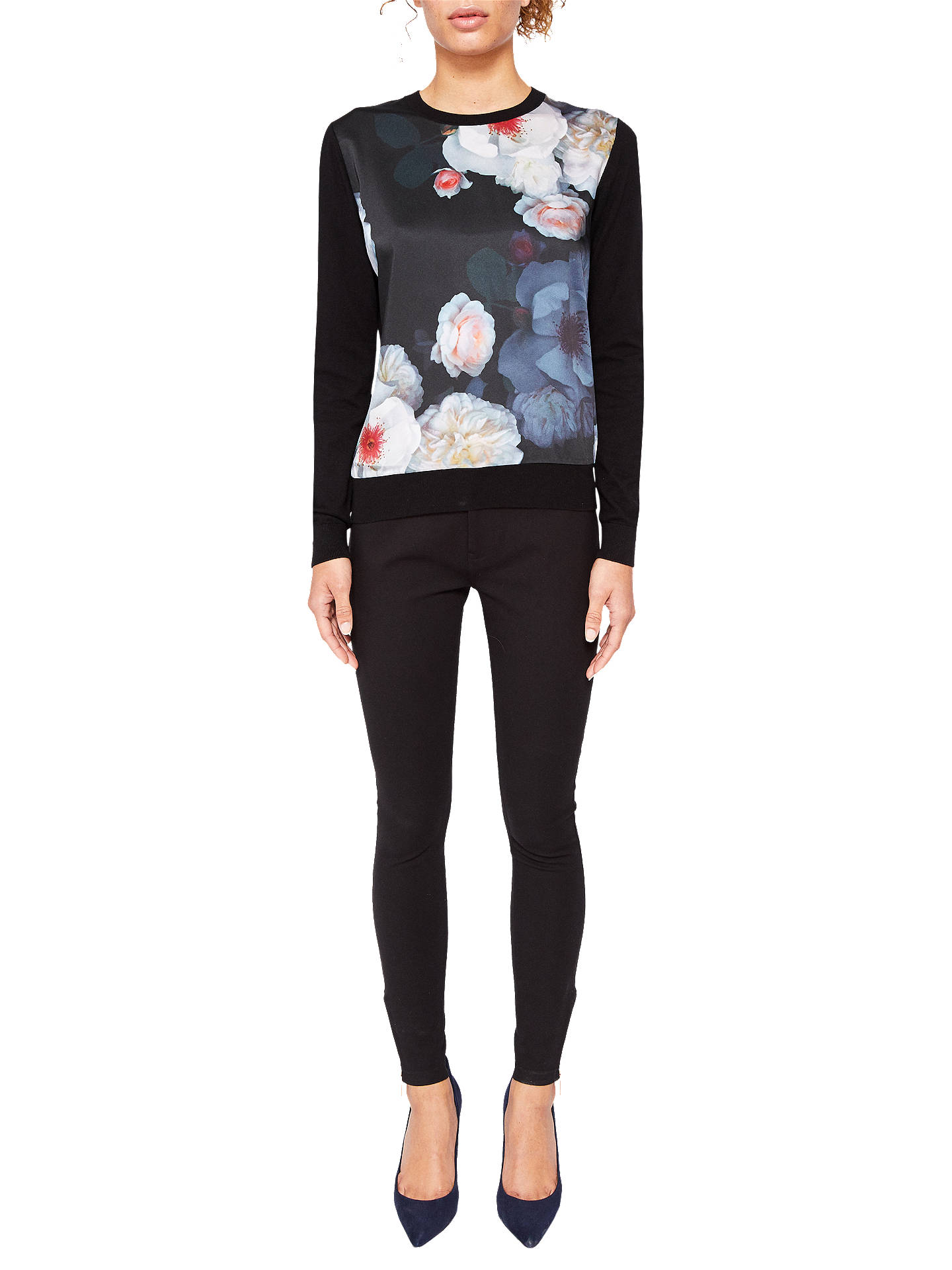 BuyTed Baker Holiee Chelsea Print Woven Jumper, Black/Multi, 6 Online at johnlewis.com