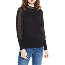 Buy Oasis Lace Sheer Sleeve Knit Top, Black Online at johnlewis.com