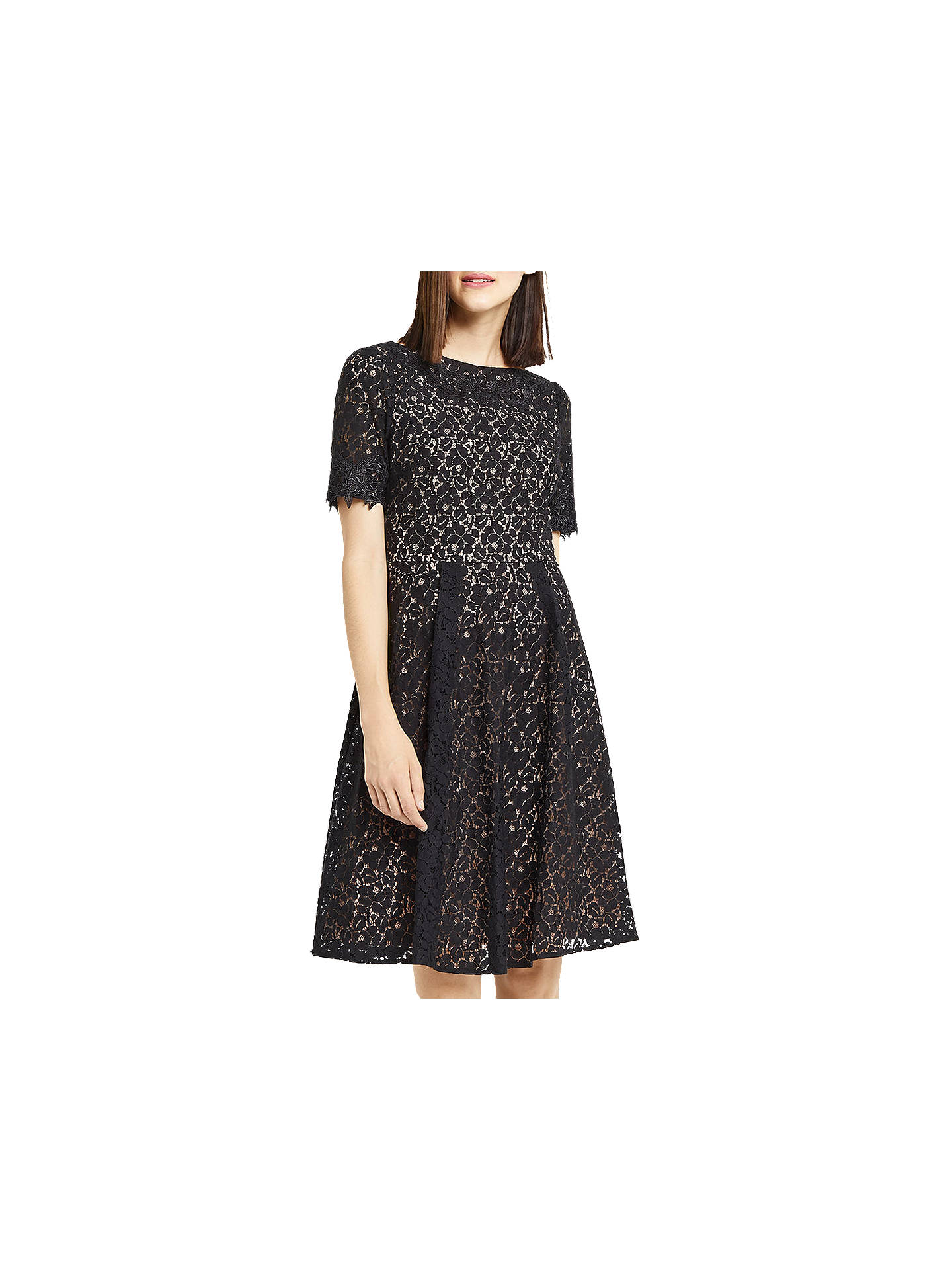 1969d6955b4a Buy Oasis Lace Skater Dress, Black, 6 Online at johnlewis.com ...