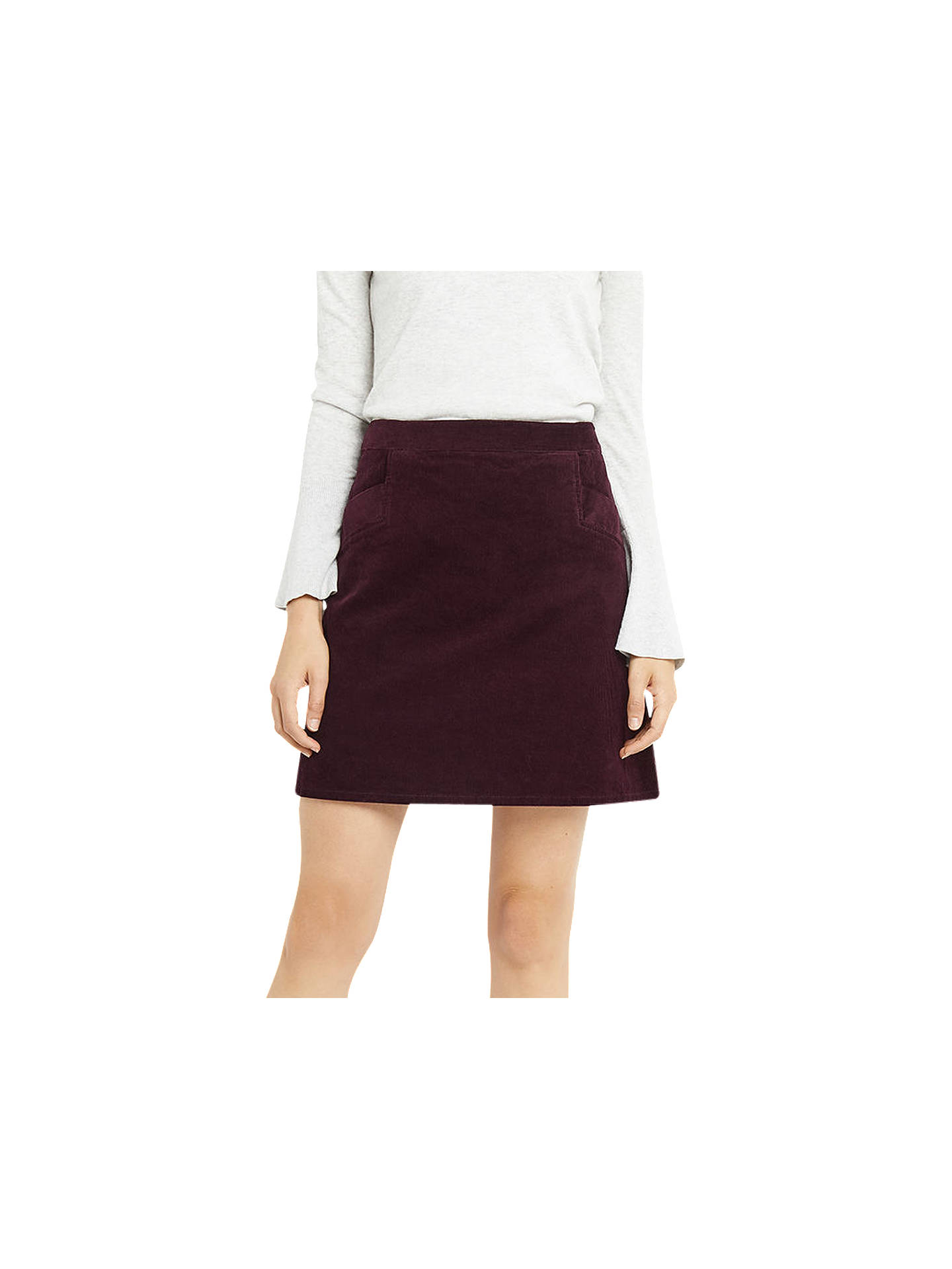 52fd21d11310 Buy Oasis Cut About Cord Skirt, Burgundy, 6 Online at johnlewis.com ...