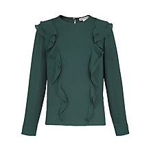 Buy Whistles Poppy Frill Front Blouse, Dark Green Online at johnlewis.com