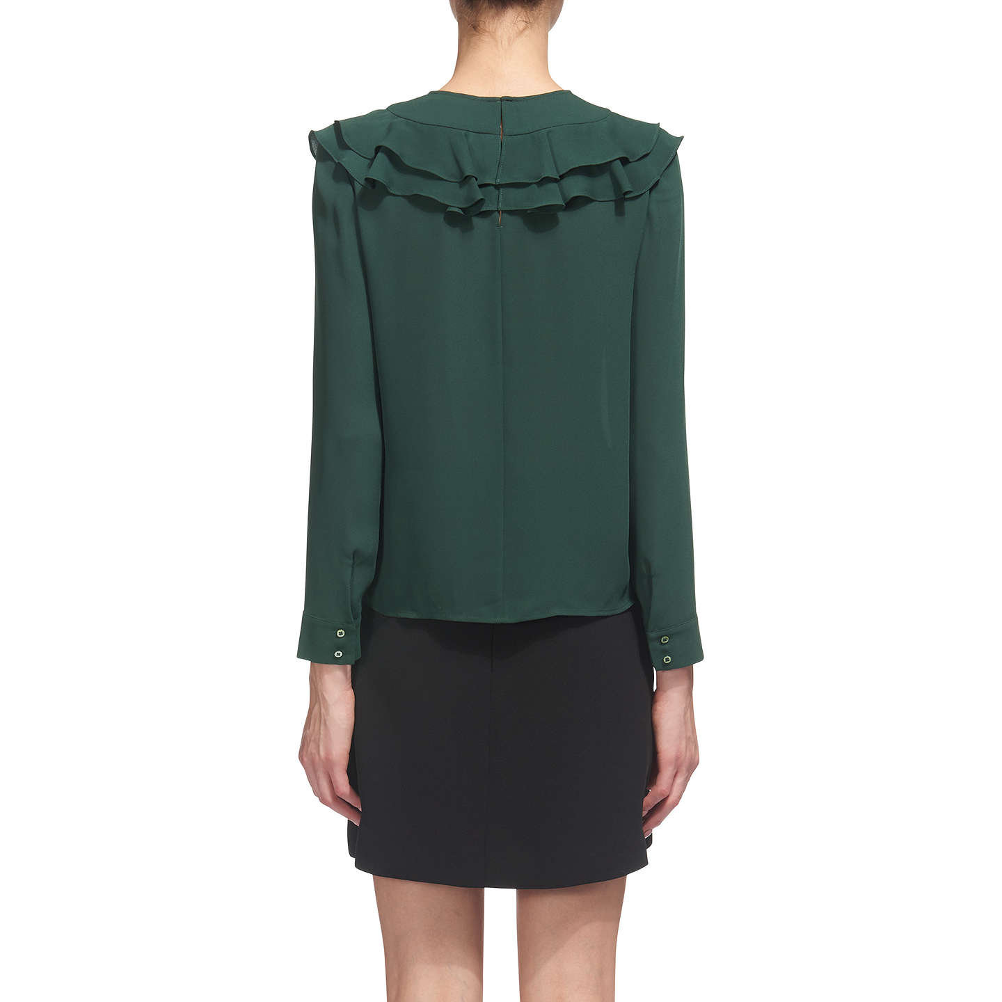 BuyWhistles Poppy Frill Front Blouse, Dark Green, 6 Online at johnlewis.com