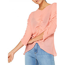 Buy Miss Selfridge Ruched Sheer Blouse, Pink Online at johnlewis.com