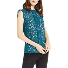 Buy Oasis Lace Trimmed Cap Sleeve Shell Top, Turquoise Online at johnlewis.com