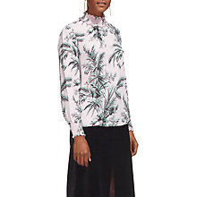 Buy Whistles Wren High Neck Blouse, Pink/Multi Online at johnlewis.com