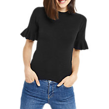 Buy Oasis Flare Cuff Knitted Top, Black Online at johnlewis.com