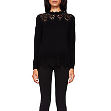 Buy Ted Baker Aarun Lace Detail Jumper, Black Online at johnlewis.com