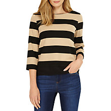 Buy Phase Eight Suri Stripe Ponte Top, Black/Camel Online at johnlewis.com