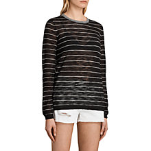 Buy AllSaints Brook Crew Neck Jumper, Black/White Online at johnlewis.com