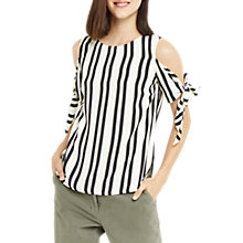 Buy Oasis Tie Shoulder Striped Top, Black/White Online at johnlewis.com