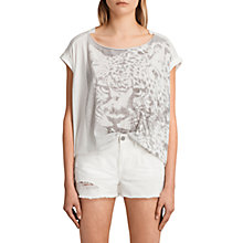 Buy AllSaints Gepard Pina Short Sleeve T-Shirt, Chalk White Online at johnlewis.com