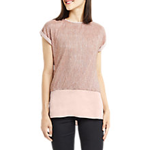 Buy Oasis Double Layer Crinkle T-Shirt, Rose Gold Online at johnlewis.com