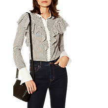 Buy Karen Millen Frill Striped Shirt, Black/White Online at johnlewis.com