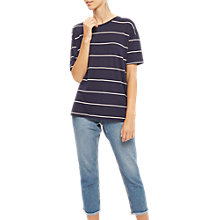 Buy Jaeger Jersey Fine Striped Top, Navy/Ivory Online at johnlewis.com