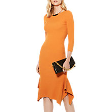 Buy Karen Millen Knitted Frill Hem Midi Dress, Orange Online at johnlewis.com