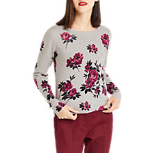 Buy Oasis Kimono Printed Knitted Jersey Top, Mid Grey Online at johnlewis.com