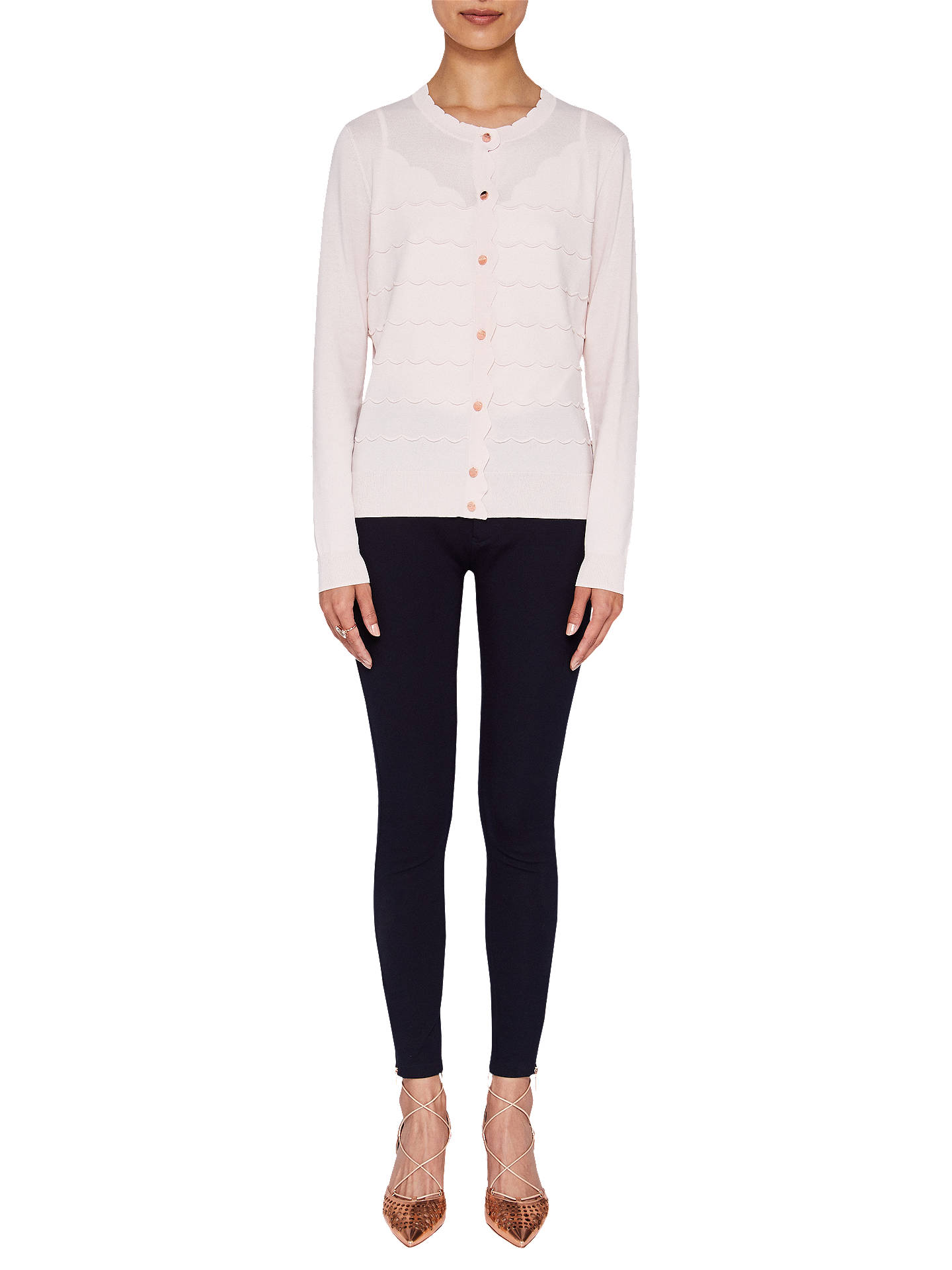 BuyTed Baker Cherell Scalloped Detail Cardigan, Pale Pink, 6 Online at johnlewis.com