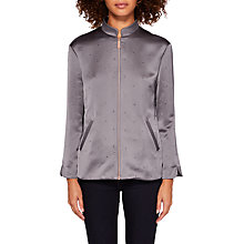 Buy Ted Baker Dannee Hot Fix Bomber Jacket, Mid Grey Online at johnlewis.com