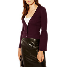 Buy Karen Millen Knitted V-Neck Cardigan, Aubergine Online at johnlewis.com
