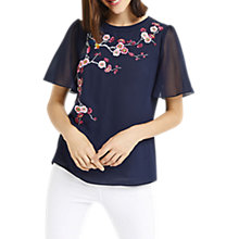 Buy Oasis Embroidered Angel Sleeve Top, Navy Online at johnlewis.com