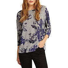 Buy Phase Eight Selena Slinky Floral Top, Grey/Blue Online at johnlewis.com
