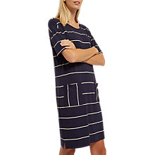 Buy Jaeger Jersey Striped Patch Pocket Dress, Navy/Ivory Online at johnlewis.com