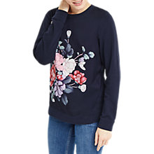 Buy Oasis Kimono Woven Front Sweater, Navy/Multi Online at johnlewis.com