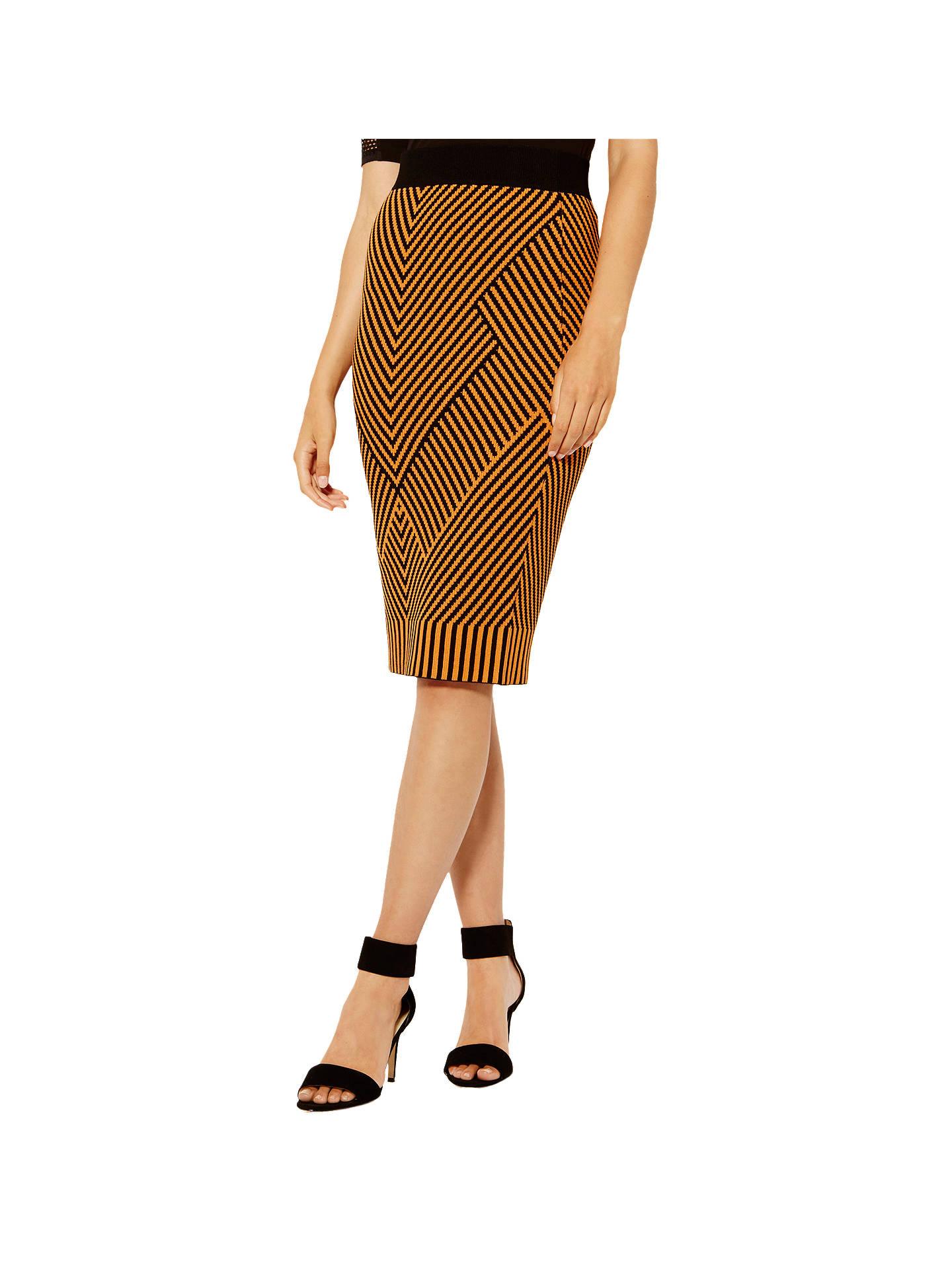 df9403a20f Buy Karen Millen Contrast Knitted Pencil Skirt, Orange/Multi, XS Online at  johnlewis ...