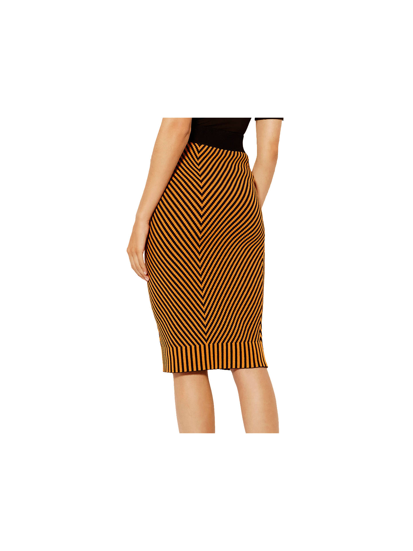 65a066cf75 ... Buy Karen Millen Contrast Knitted Pencil Skirt, Orange/Multi, XS Online  at johnlewis ...