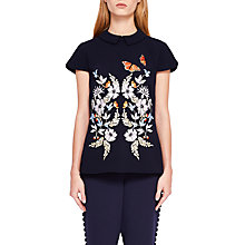 Buy Ted Baker Enora Kyoto Gardens Embroidered Top, Mid Blue Online at johnlewis.com