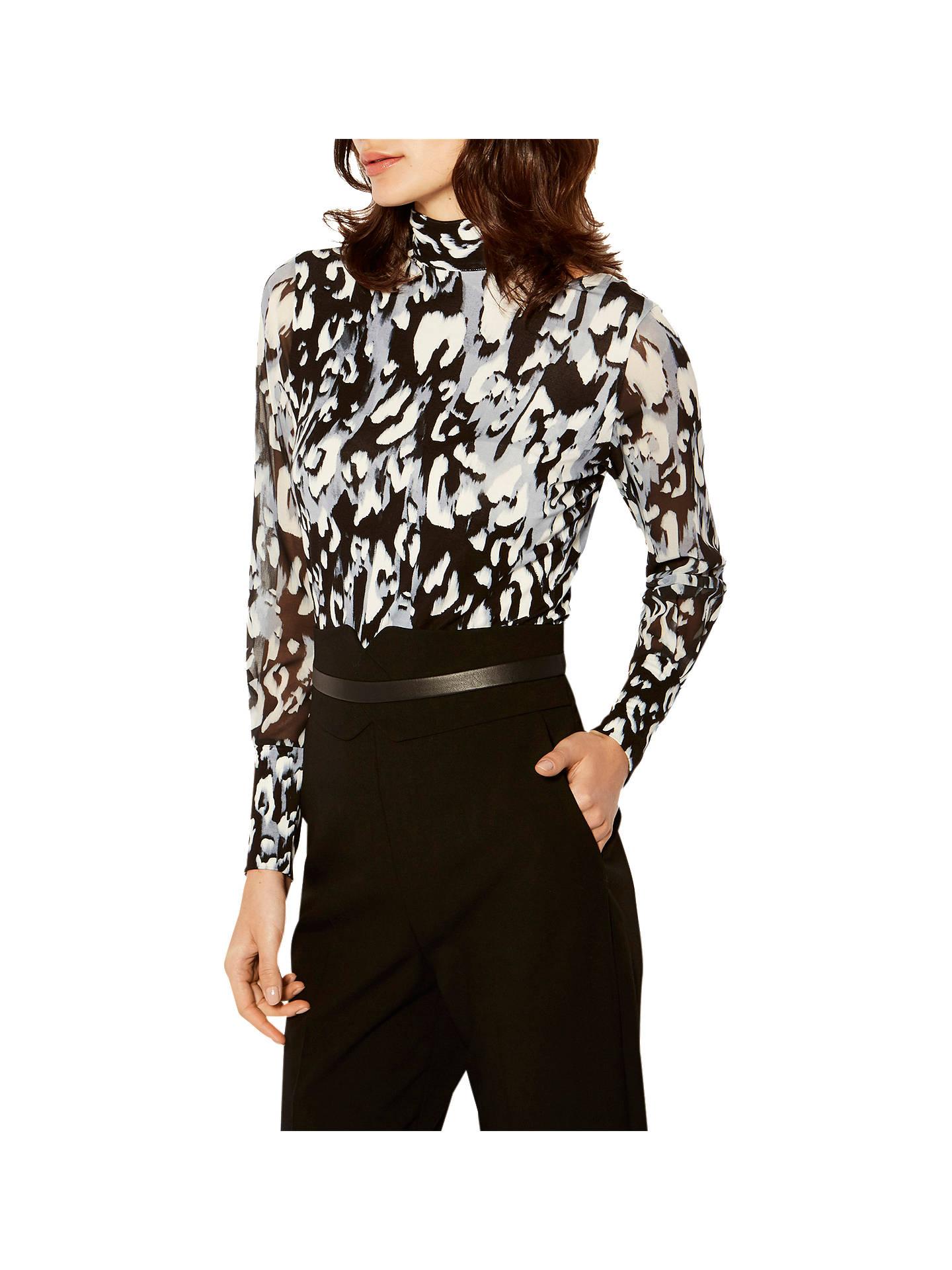 4ceeb4c7828660 Buy Karen Millen Leopard Print Jersey Blouse, Grey/Multi, 6 Online at  johnlewis ...