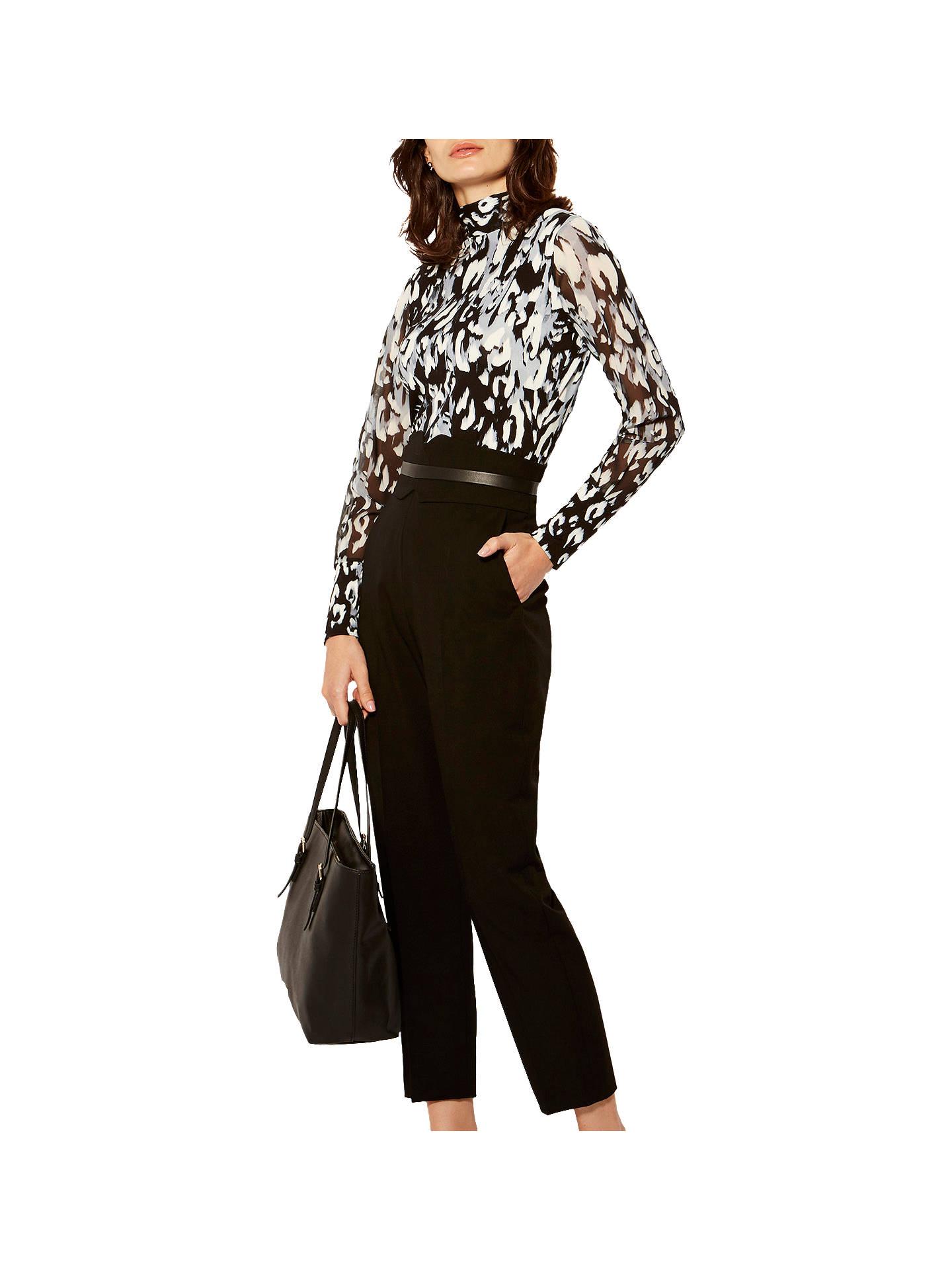 7846f4741ffcff ... Buy Karen Millen Leopard Print Jersey Blouse, Grey/Multi, 6 Online at  johnlewis ...