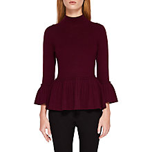 Buy Ted Baker Lislie Pleated Jumper, Maroon Online at johnlewis.com