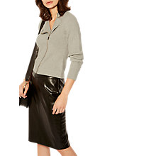 Buy Karen Millen Military Zip Through Milano Knitted Cardigan, Grey Online at johnlewis.com