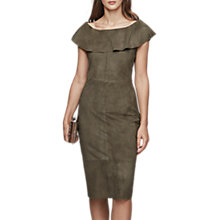 Buy Reiss Fray Suede Off The Shoulder Dress, Light Khaki Online at johnlewis.com