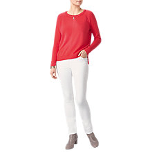 Buy Pure Collection Cashmere Stepped Hem Jumper, Rich Coral Online at johnlewis.com