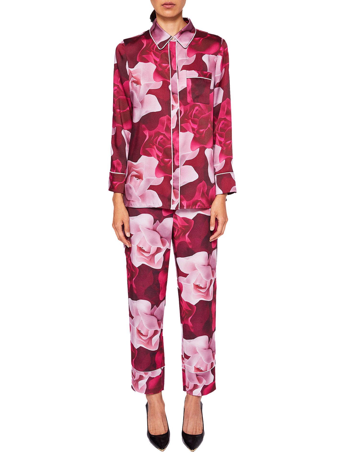 e635d8db62bf ... Buy Ted Baker Mianat Porcelain Rose Pyjama Style Trousers, Maroon, 0  Online at johnlewis ...